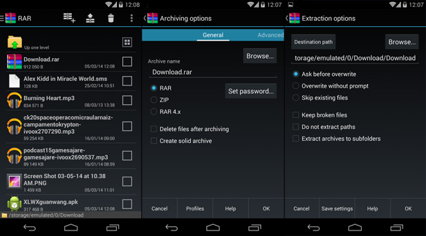 Steps of extract RAR from Android
