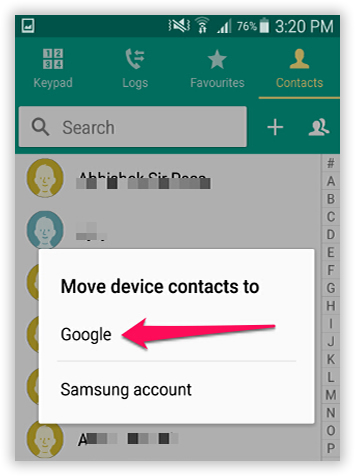 backup android contacts to gmail