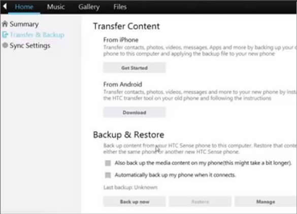 backup and restore HTC phone