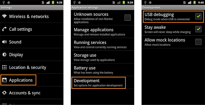 Turn On USB Debugging on Android 2.1 - 2.3