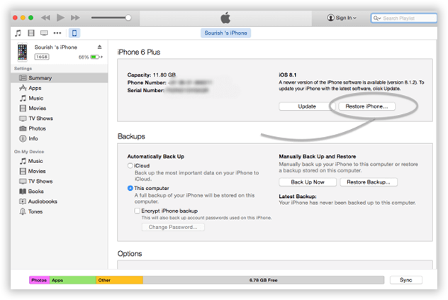 fix iPhone in recovery mode with iTunes restore
