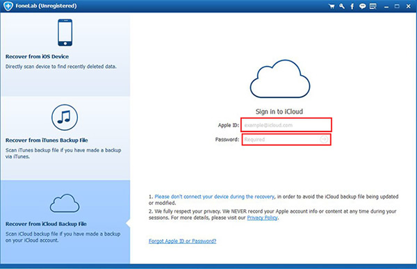 Log in the iCloud account