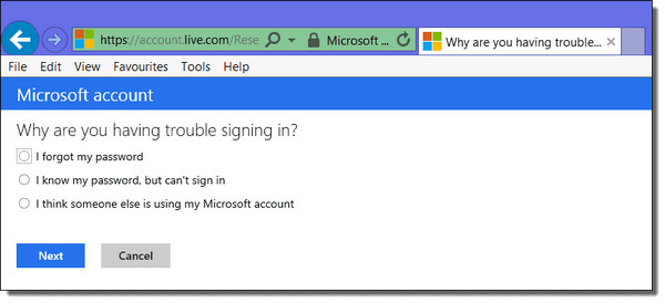 cant login to windows 8 forgot password